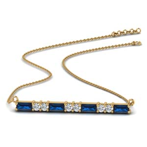 Gold Bar Necklace With Sapphire