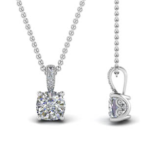 1 Ct. Cushion Cut Diamond Filigree Pendant