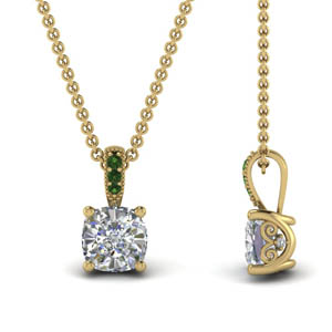 Cushion Cut Diamond Emerald Pendant