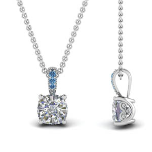 Blue Topaz With Pave Set Pendant