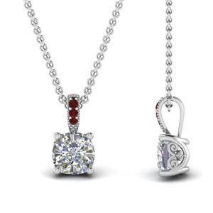 Milgrain Ruby Diamond Cushion Cut Pendant