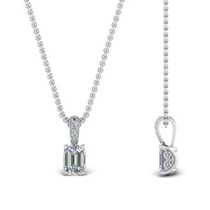 Half Carat Emerald Cut Diamond Filigree Pendant