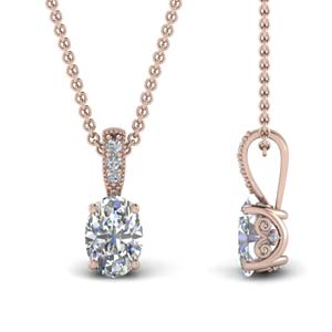 Rose Gold Oval Shaped Diamond Pendant
