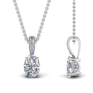 1 Ct. Oval Filigree Diamond Pendant