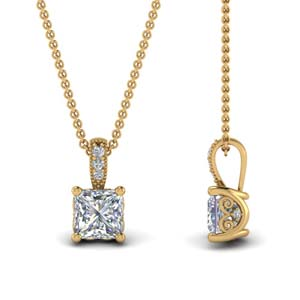 Princess Cut Diamond Filigree Pendant