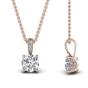 18K Rose Gold One Carat Pendant