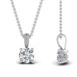 18K White Gold Round Cut Diamond Pendant