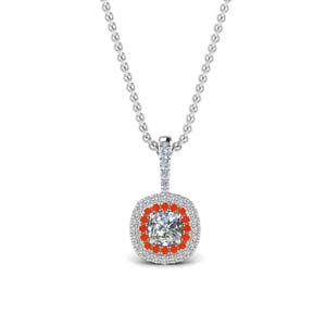 Orange Topaz Halo Necklace Pendant