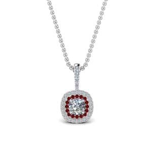Halo Necklace Pendant With Ruby