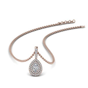 Double Halo Pear Shaped Pendant