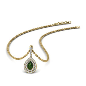Halo Pear Shaped Emerald Pendant