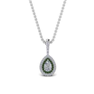 Pear Shaped Emerald Halo Pendant