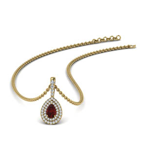 Double Halo Ruby Pear Pendant