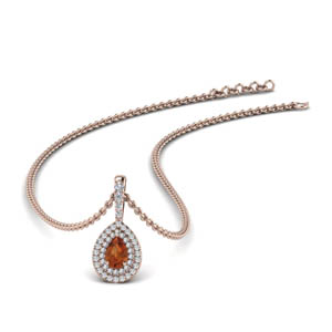 Halo Pear Diamond Pendant