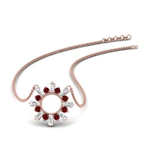 Sun Design Pendant With Ruby