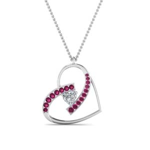 Heart Pattern Pendant With Pink Sapphire