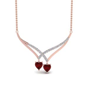 Heart Ruby Pendant Necklace