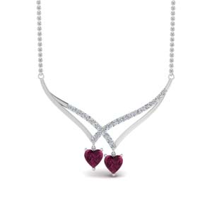 Platinum Necklace With Pink Sapphire