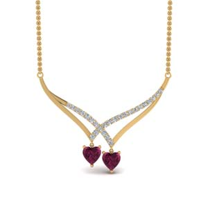 V Design Pendant With Pink Sapphire