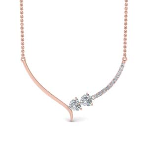 V Shaped Diamond Heart Necklace