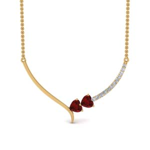 Ruby V Shaped Heart Necklace