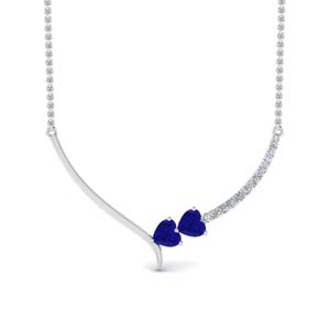 Platinum Heart Necklace With Sapphire