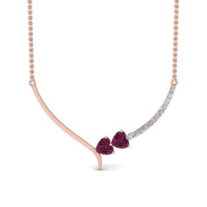 Heart Pink Sapphire Necklace