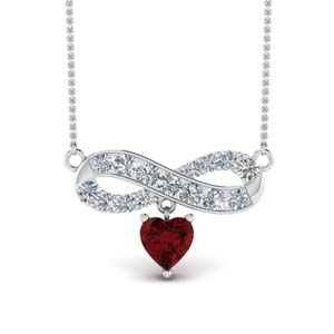 Infinity Ruby Drop Platinum Pendant
