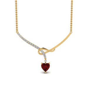 Ruby Heart Diamond Pendant For Her