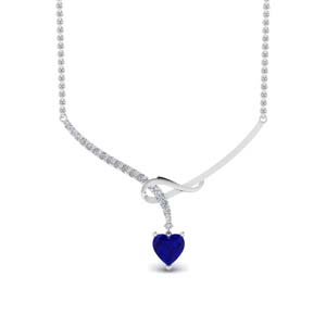 Heart Sapphire Necklace For Women