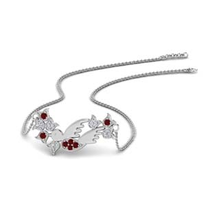 Branch Bird Design Ruby Pendant