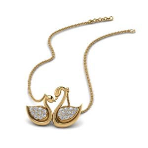14k Yellow Gold Swan Pendant Charm