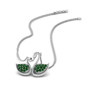 Swan Design Emerald Necklace