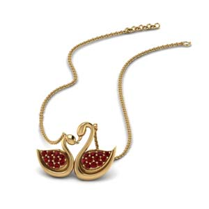 Dual Duck Design Ruby Pendant