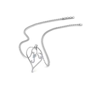 swirl heart design diamond pendant in 14K white gold FDPD8906 NL WG