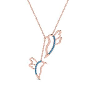 Blue Topaz Twin Birds Necklace