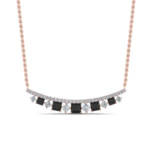 Curved Black Diamond Necklace