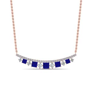 Curved Sapphire Necklace For Women