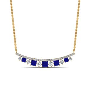 Curved Graduated Sapphire Necklace