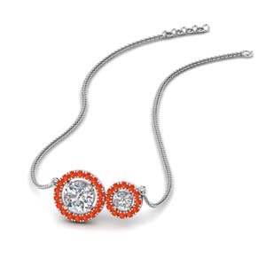 Dual Halo Orange Topaz Pendant