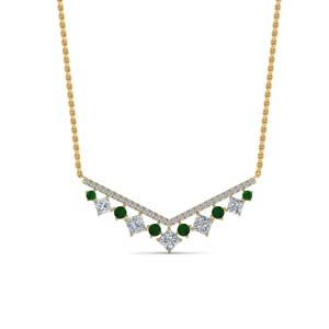 0.75 Ct. Diamond Necklace With Emerald
