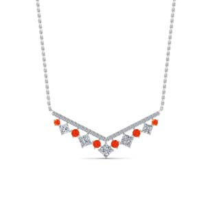 V Design Pattern Orange Topaz Necklace