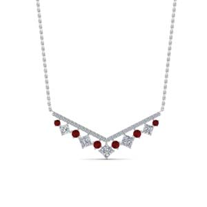Round Ruby And Princess Cut Pendant