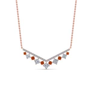 V Shaped Orange Sapphire Necklace