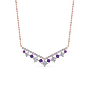 Rose Gold Necklace With Purple Topaz