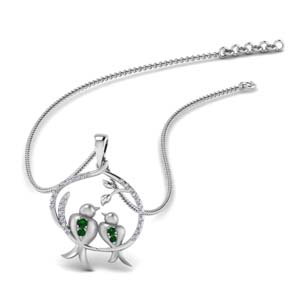 Twin Bird Emerald Pendant
