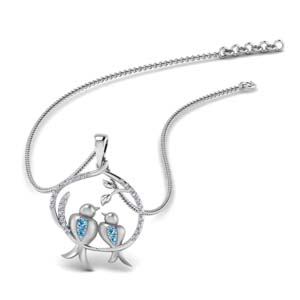 Blue Topaz Dual Bird Necklace