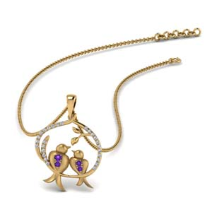 Purple Topaz Mom Bird Pendant