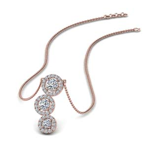 Triple Halo Diamond Drop Pendant