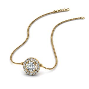 18K Gold Halo Pendant